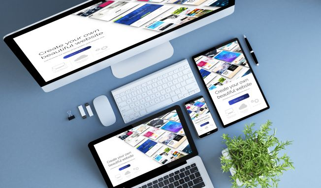 top view blue devices website builder